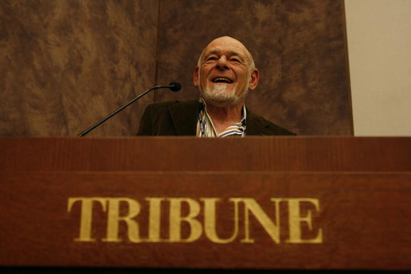 Sam Zell holds his first press conference after purchasing the Tribune Company.