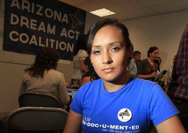 Erika Andiola, an immigration rights activist, spoke out Friday about the arrest in Arizona of her mother and brother by immigration agents. They were released and their case is under review.