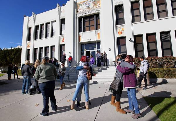 A day after the shooting at Taft Union High School in Kern County, many students, family members and friends gathered at the school to attend counseling sessions or offer each other comfort.