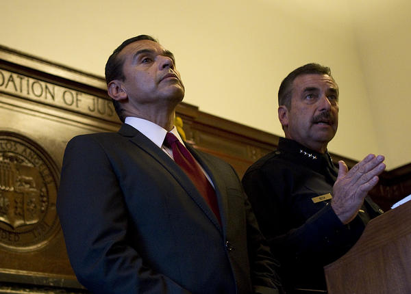 Over the course of Antonio Villaraigosa's nearly eight years as mayor, crime has significantly declined. Above: Villaraigosa is seen, left, with LAPD Chief Charles Beck in 2011.