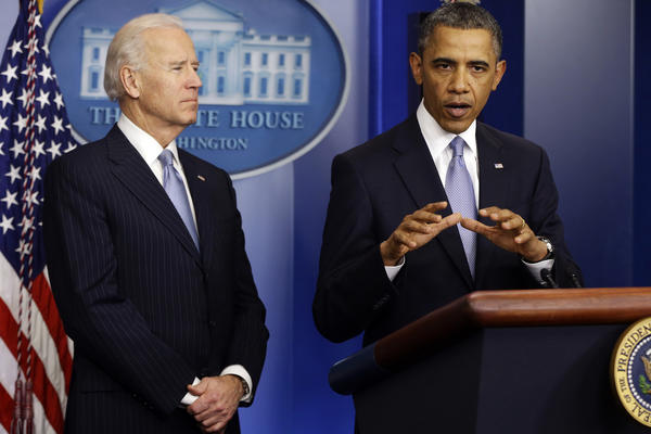 President Obama, right, and Vice President Biden make a statement regarding the passage of the fiscal cliff bill in the Brady Press Briefing Room at the White House.