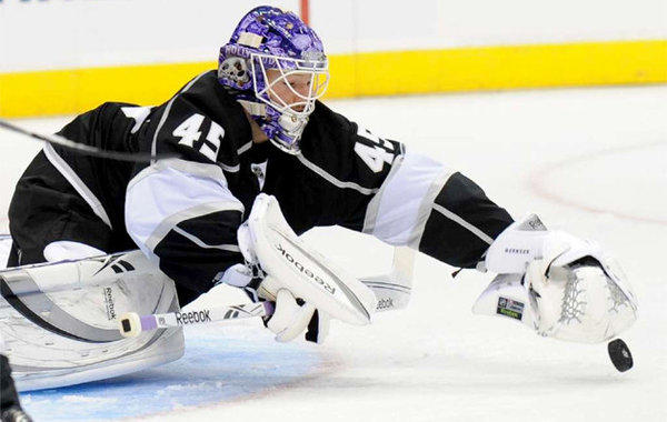 Kings goalie Jonathan Bernier makes a save against the Ducks.