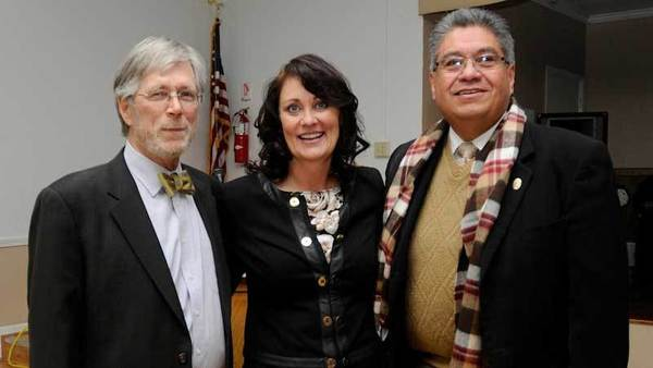 FROM LEFT: Imperial County Assistant District Attorney Joe Beard, county Senior Deputy District Attorney Deborah Owen and District Attorney Gilbert Otero attend Beard's retirement announcement Friday.