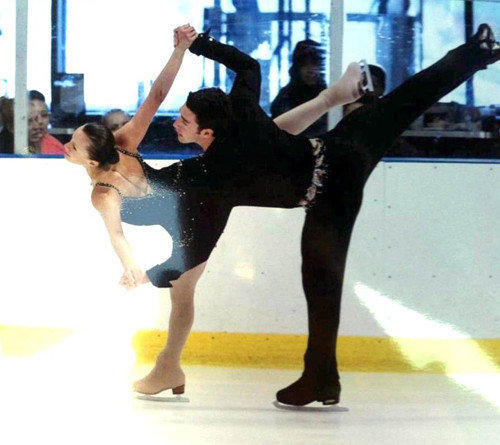 Brenna Doherty, left, and Craig Norris skating their first competition together at the Orange County Open in California in August 2012.