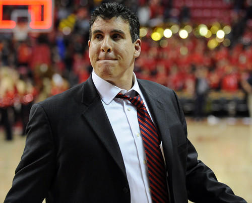 Terps assistant coach Scott Spinelli walks off the court at Comcast Center after the team's 65-62 loss to Florida State.