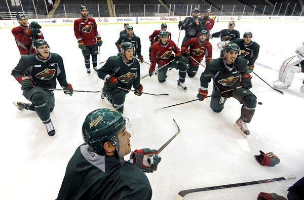 Minnesota Wild players gather for an informal workout as they prepare for the NHL lockout to be lifted and a new season to begin.