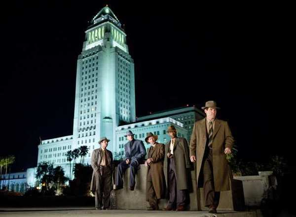 "From left to right, Michael Pea as Officer Navidad Ramirez, Ryan Gosling as Sgt. Jerry Wooters, Robert Patrick as Officer Max Kennard, Anthony Mackie as Officer Coleman Harris, and Josh Brolin as Sgt. John O'Mara in ""Gangster Squad."""