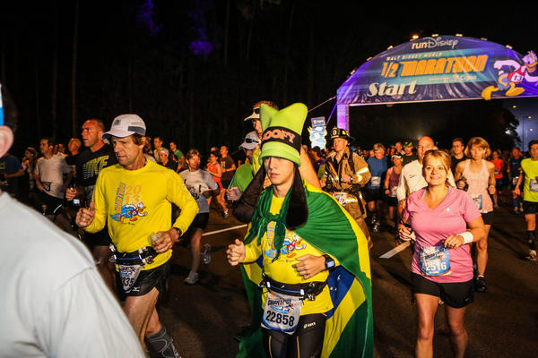 Runners kickoff the 2013 Walt Disney Half Marathon in Lake Buena Vista, Fla. on Saturday, January 12, 2013.