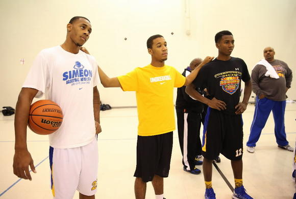 Left to right, Simeon's Russell Woods, Sean Moore and Donte Ingram were three of four transfers Simeon received this school year.
