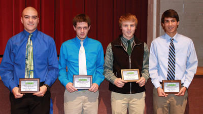 Special awards were presented to from left: Windbers Garrett Walerysiak, Goalkeeper of the Year; Somersets Zach Ferchalk, Defensive Player of the Year; North Stars Austin Swihura, Midfield Player of the Year; and Windbers Jake Hanley, Offensive Player of the Year. Missing from photo is Windbers Brett Hoffman, Coach of the Year.