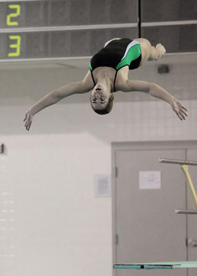 Central Catholic's Nicole Sagl performs a back dive in the straight position during the Lehigh Valley Conference diving championship meet held at Emmaus High School Saturday. Nicole went on to win the girls 1 meter diving with the score of 434.90.