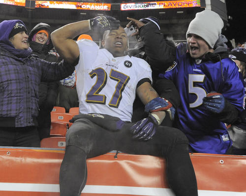 Ravens running back Ray Rice celebrates with fans after the 38-35 victory over the Denver Broncos in the AFC divisional playoff.