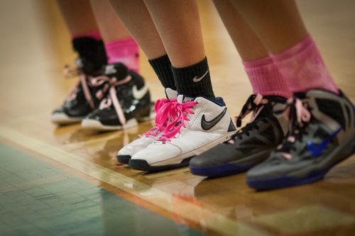 Players wore shoes with pink laces and other pieces to support the cause. Mount de Sales Academy basketball program launched a fundraising campaign for Breast Cancer Awareness at St. Agnes Hospital by having a Pink Out Night, with players wearing pink socks, shoelaces, and clothing.