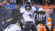 Justin Tucker got in a practice kick on the field before booting game-winning field goal