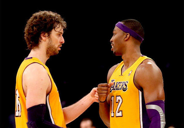 Lakers big men Pau Gasol, left, and Dwight Howard have been out of the lineup for most of January.