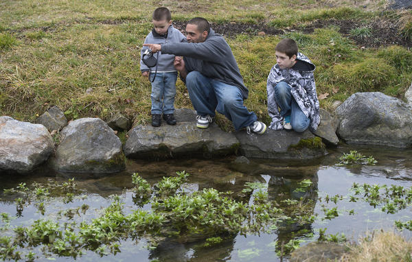 Ramon Rivera of Lower Macungie explore the Little Lehigh creek with sons Rayen, 3 (left) and Jayden 10, at Allentown's Fish Hatchery on Sunday. Winter is offering a respite from snow and cold temperatures as spring-like weather makes an unseasonable return this weekend.