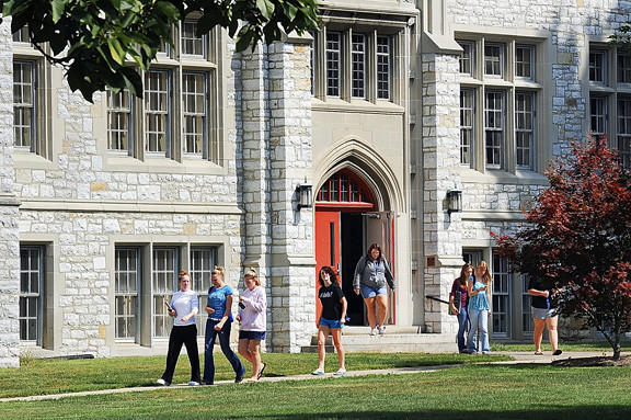 Students leave Warfield Hall after class at Wilson College in Chambersburg, Pa. Trustees from the college announced Sunday that the college will become fully coeducational.
