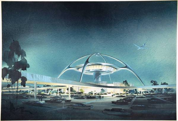 "The 1961 watercolor ""LAX Theme Building"" is among the works to be shown."