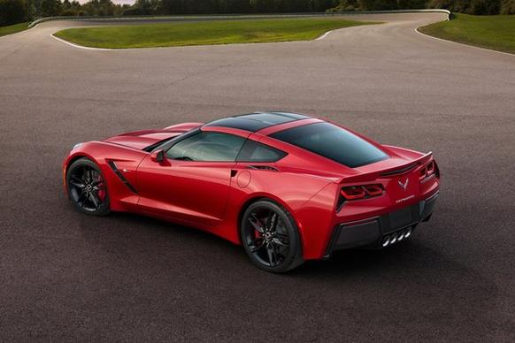 The 2014 Corvette Stingray, a study in sharp edges and angles, boasts 450 horsepower, 450 pound-feet of torque and a zero-to-60 mph time of less than 4 seconds, according to Chevrolet.