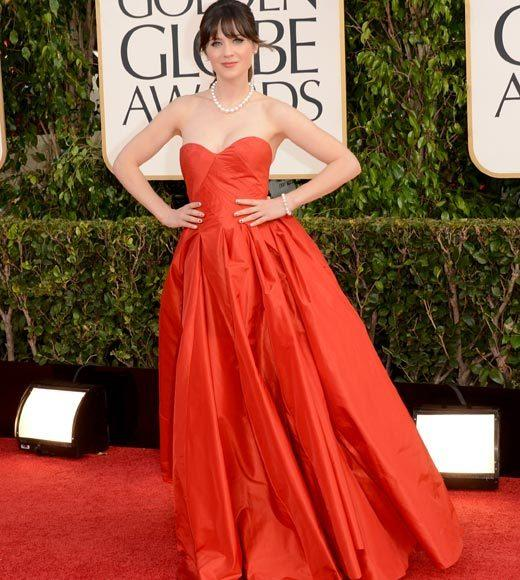 Photos: Golden Globes 2013 red carpet arrivals: Zooey Deschanel