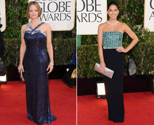 Jodie Foster in Armani and Olivia Munn in a strapless Armani gown with turquoise herringbone beading on the bodice.