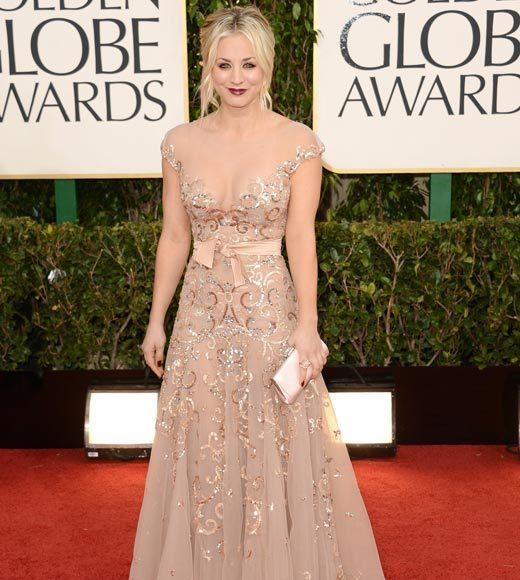Photos: Golden Globes 2013 red carpet arrivals: Kaley Cuoco
