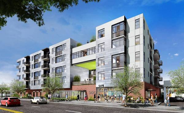 A rendering shows a $30-million apartment and retail complex that is under construction at 3425 Motor Ave. in Los Angeles by Frost/Chaddock Developers. It is slated be completed by May 2014.