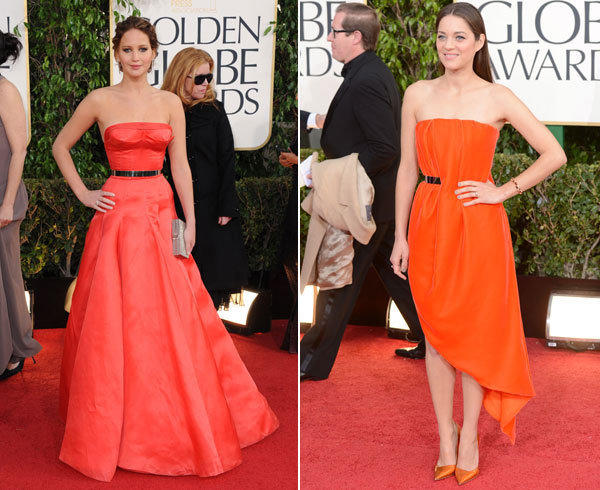 Jennifer Lawrence, left, and Marion Cotillard, both in Dior.