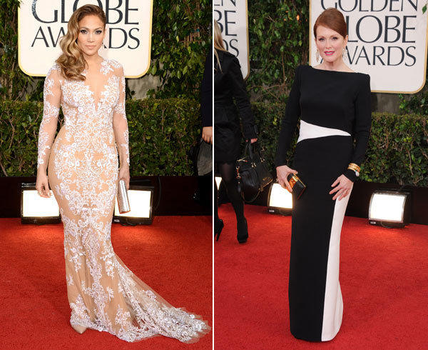 Jennifer Lopez in a body-baring Zuhair Murad gown and Julianne Moore in Tom Ford.