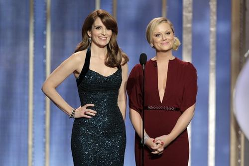 """Tina Fey and Amy Poehler kick off the 70th annual Golden Globes, telecast live on NBC from the Beverly Hilton Hotel's International Ballroom. The comediennes joked about the nature of the event, which honors actors from film and television.<br><br> """"Only at the Golden Globes do the beautiful people of film rub shoulders with the rat-faced people of television,"""" Poehler joked. The pair also poked fun at the controversy surrounding Kathryn Bigelow's """"Zero Dark Thirty.""""<br><br> """"When it comes to torture, I trust the lady who spent three years married to James Cameron,"""" Poehler cracked.<br><br> The hosts poked fun at several attendees, as well as one absent actress.<br><br> """"Meryl Streep is not here today,"""" Poehler said. """"She has the flu, and I hear she's <em>amazing</em> in it."""" <br><br>"""