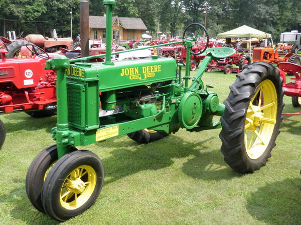 This 1938 John Deere B is one of Larry Barnhart's favorite in his collection of farm tractors. He cites the distinctive sound of the engine and the tractor's colors as his basis for the decision.