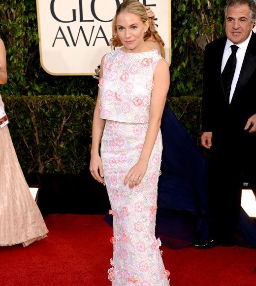 Photos: Golden Globes 2013 red carpet arrivals: Sienna Miller