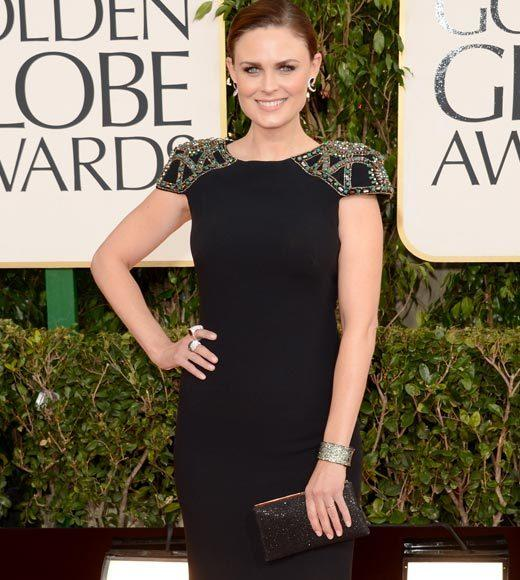 Photos: Golden Globes 2013 red carpet arrivals: Emily Deschanel
