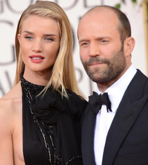 Photos: Golden Globes 2013 red carpet arrivals: Rosie Huntington-Whiteley and Jason Statham