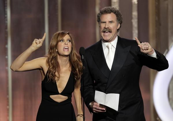 Award presenters Kristen Wiig and Will Ferrell pretend they haven't seen any of the films in their category in a bit that draws laughs from the audience.