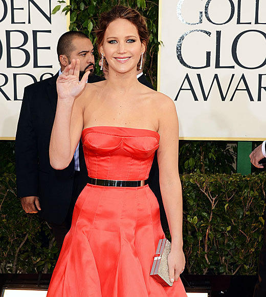 Golden Globes 2013: Best and worst moments: Jennifer Lawrence rarely fails on the red carpet, but her look at the Globes wasnt quite up to par. While red remains her color and the outfits black belt hit her waist in just the right place, theres something about the Christian Dior gown that doesnt quite work. It makes her breasts look both saggy and puckered, and the way it clings to her hips makes it seem like shes bulging out, even though she very clearly isnt. Maybe shes saving her best look for the Oscars?   -- Terri Schwartz, Zap2it