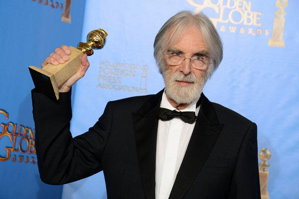 "Director Michael Haneke backstage with his Golden Globe for best foreign-language film for ""Amour."""