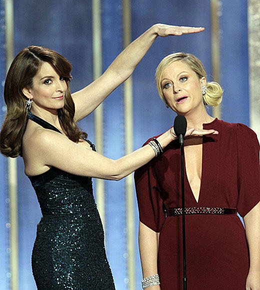 Golden Globes 2013: Best and worst moments: No Ricky Gervais? No problem. Golden Globes hosts Tina Fey and Amy Poehler delivered a wickedly funny opening to the telecast, with an assist from Homeland star Mandy Patinkin and a big zinger at the expense of James Cameron.  -- Rick Porter, Zap2it