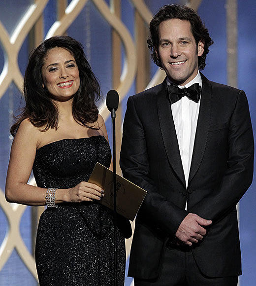 Golden Globes 2013: Best and worst moments: Presenters Salma Hayek and Paul Rudd were left flat-footed when the prompter apparently failed before they gave the award for best TV drama. After staring blankly for a few seconds, then chuckling, Hayek got out, Something about the best ... before the clip package rolled. They were good sports about it, though, and we all had a laugh. So yay.  -- Rick Porter, Zap2it
