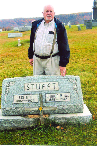 Jim Mowry, Master of the Somerset County Pomona Grange, stands behind the family tombstone of the James B.W. and Edith Stufft family in the Mt. Tabor-Horner Cemetery between Jenner Crossroads and Stoystown, for an historical moment in Somerset County Pomona Grange 39s long history. Mowry has been re-elected to the same Masters (president) position for the 2013 and 2014 years which will be his 24th and 25th years of service to that office. The late James B. W. Stufft of the Ralphton area served the same position for 24 years between 1916 and 1940, during which time he earned the title of Father Grange in Somerset County for helping to organize approximately 20 subordinate Granges in Somerset County.