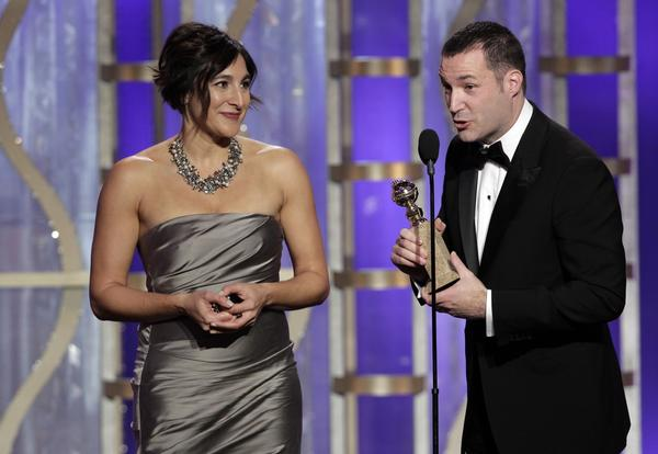 "Director Mark Andrews accepts the animated film Golden Globe for ""Brave."" Producer Katherine Sarafian joins him on stage.<br><br> ""Being brave is about being true to yourself and allowing your loved ones that same freedom,"" Andrews said."