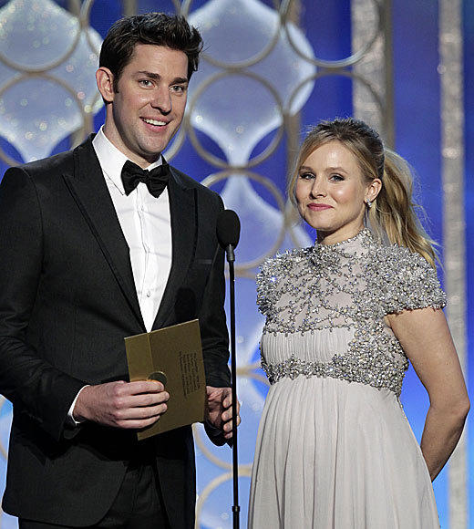 "A smiley John Krasinski and a glowing, pregnant Kristen Bell on stage <i>at the same time</i>. We are now suffering from a sugar high. <br><br> <i>-- <a href=""http://www.twitter.com/cadlymack"">Carina Adly MacKenzie</a>, <a href=""http://www.zap2it.com"">Zap2it</a></i>"