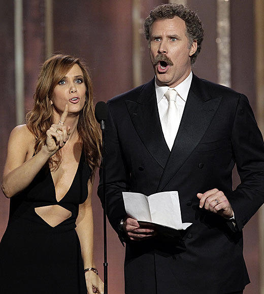 "Tina Fey and Amy Poehler were hilarious, but one of the best moments of the night came from fellow ""SNL"" alumni Will Ferrell and Kristen Wiig as they presented the award for best lead actress in a comedy or musical. After claiming to have seen each of the films nominated, they proceeded to hilariously botch the plots of all of them. From praising Emily Blunt's fishing skills in ""Salmon Fishing in the Yemen,"" to admiring ""Muriel"" Streep's work as a ""sassy sheriff"" in ""Hope Springs,"" they had everyone in the audience in stitches. Everyone except Tommy Lee Jones, that is. <br><br> <i> --<a href=""http://www.twitter.com/chrishayner"">Chris E. Hayner</a>, <a href=""http://www.zap2it.com"">Zap2it</a></i>"