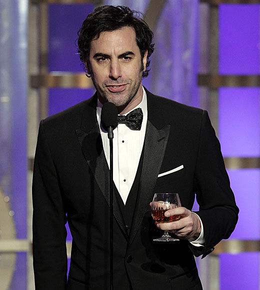 "Is Sacha Baron Cohen, who before he introduced the nominees for best animated movie launched into a ribald, bordering-on-tasteless monologue (that Anne Hathaway joke -- yeesh) that was also at times very, very funny. <br><br> <i>-- <a href=""http://twitter.com/Zap2itRick"">Rick Porter</a>, <a href=""http://www.zap2it.com"">Zap2it</a></i>"