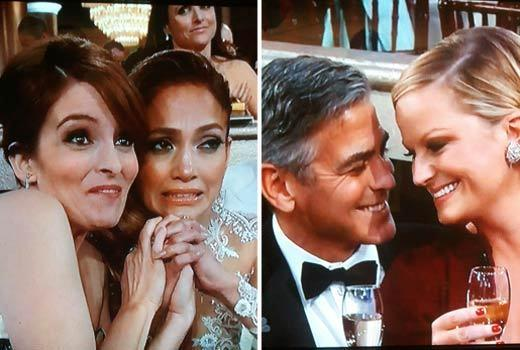 Golden Globes 2013: Best and worst moments: During the montage of nominees for Best Actress on a TV Series Comedy, Tina Fey was seen hugging Jennifer Lopez, while Amy Poehler got to canoodle with George Clooney. In fact, she may have been sitting on his lap. Amys buddy > Tinas buddy (no offense to Jennifer Lopez).   -- Andrea Reiher, Zap2it