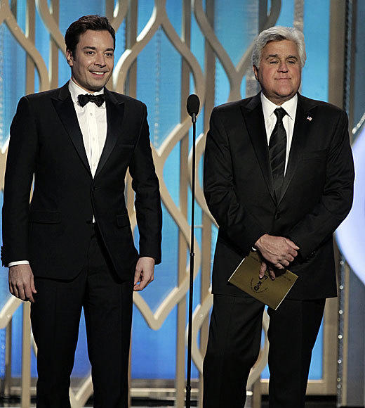 Golden Globes 2013: Best and worst moments: In case you missed the oh-so-subtle subtext to their bit before they presented the award for best actress in a TV comedy, Jimmy Fallon and Jay Leno were talking about The Tonight Show.  -- Rick Porter, Zap2it