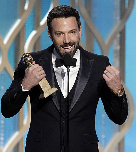"Ben Affleck now has two trophies to rub in the academy's faces. He took the  Golden Globe for best director for his film ""Argo."" When accepting the award Affleck downplayed the snub while praising his fellow nominees saying, ""I don't care what the award is, when they put your name next to the names she just read off it's an extraordinary thing."" He also took a moment to thank Paul Thomas Anderson, who was not nominated, comparing him to Orson Welles. Affleck ended his speech thanking his wife, Jennifer Garner, and kids, saying they're his ""everything.""  <br><br> --<i><a href=""http://www.twitter.com/chrishayner"">Chris E. Hayner</a>, <a href=""http://www.zap2it.com"">Zap2it</a></i>"