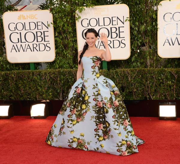 Lucy Liu's blue rose-patterned Carolina Herrera gown made her look like she was ready for a costume ball.