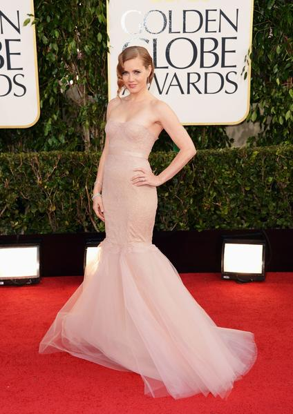 Amy Adams' ballet-pink lace Marchesa gown with trumpet skirt was overwrought.