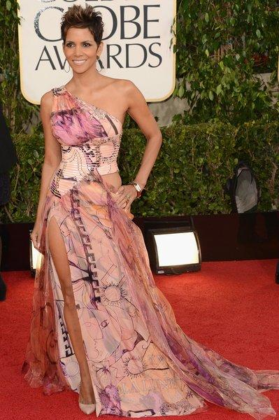Halle Berry's Versace dress had too much going on between the crazy print, the cutout bodice and the thigh-high slit.